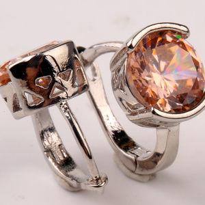 Jewelry - 18K WGF Morganite Topaz Zircon Earrings 2.04tcw